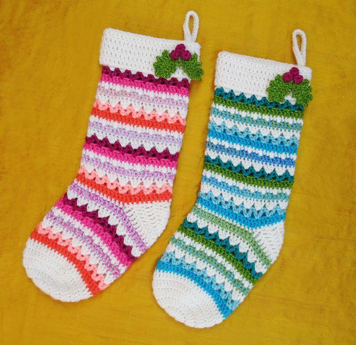 """<p>Red and green are well and good for the holidays, but perhaps you're after something a little more colorful. To brighten up your seasonal décor, craft these crochet stockings using pink, orange, blue, and green yarn.<br></p><p><strong>Get the tutorial at <a href=""""http://www.gleefulthings.com/blog/?p=6578"""" rel=""""nofollow noopener"""" target=""""_blank"""" data-ylk=""""slk:Gleeful Things"""" class=""""link rapid-noclick-resp"""">Gleeful Things</a>.</strong></p><p><a class=""""link rapid-noclick-resp"""" href=""""https://www.amazon.com/gp/product/B003T5PVIE/ref=as_li_tl?tag=syn-yahoo-20&ascsubtag=%5Bartid%7C10050.g.28872655%5Bsrc%7Cyahoo-us"""" rel=""""nofollow noopener"""" target=""""_blank"""" data-ylk=""""slk:SHOP GLITTERED YARN"""">SHOP GLITTERED YARN</a></p>"""