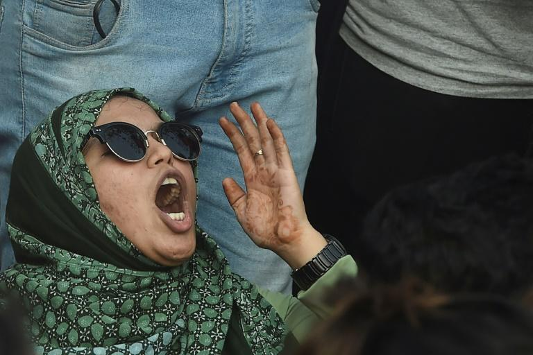 An Indian protester in Mumbai shouts during a demonstration against the violence at the New Delhi campus (AFP Photo/Punit PARANJPE                      )