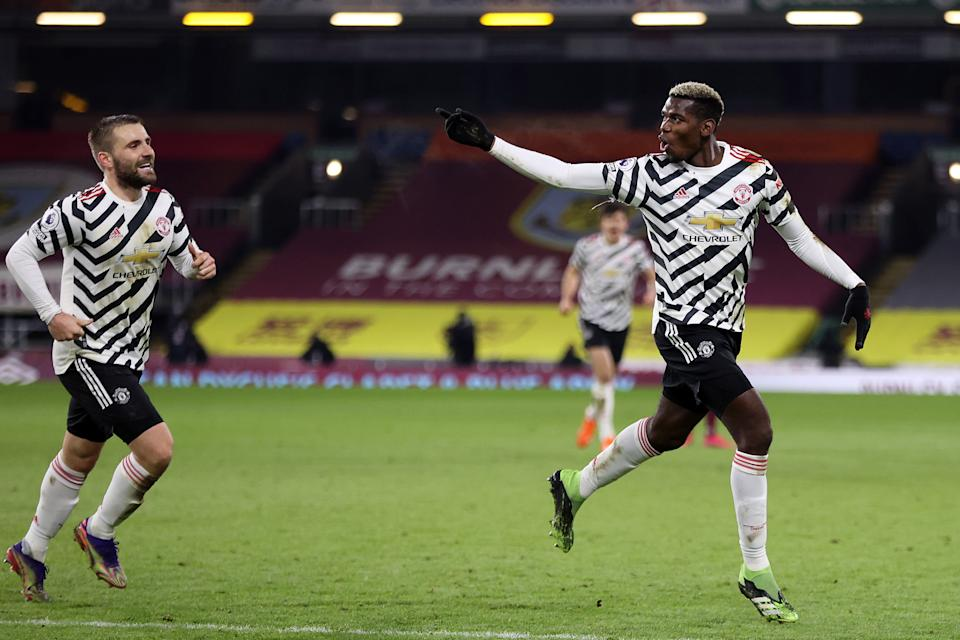 Paul Pogba (right) and Manchester United earned a deserved win over Burnley on Tuesday, and sit atop the Premier League table this late in the season for the first time since 2013. (Photo by Clive Brunskill/Getty Images)