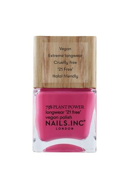 """<p>Miss Pop would like to call this category of nail-polish colors """"'80s spandex shades,"""" and nothing says """"Let's Get Physical"""" like neon hot pink. </p> <p>Try: <span>Nails Inc U Ok Hun? Plant Based Vegan Nail Polish</span> ($10)</p>"""
