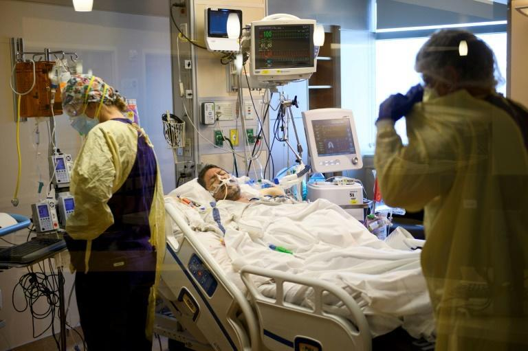 An intubated patient in the Covid-19 intensive care unit at Renown Regional Medical Center in Reno, Nevada -- where two floors of a parking garage have been converted into an alternative care site to increase capacity