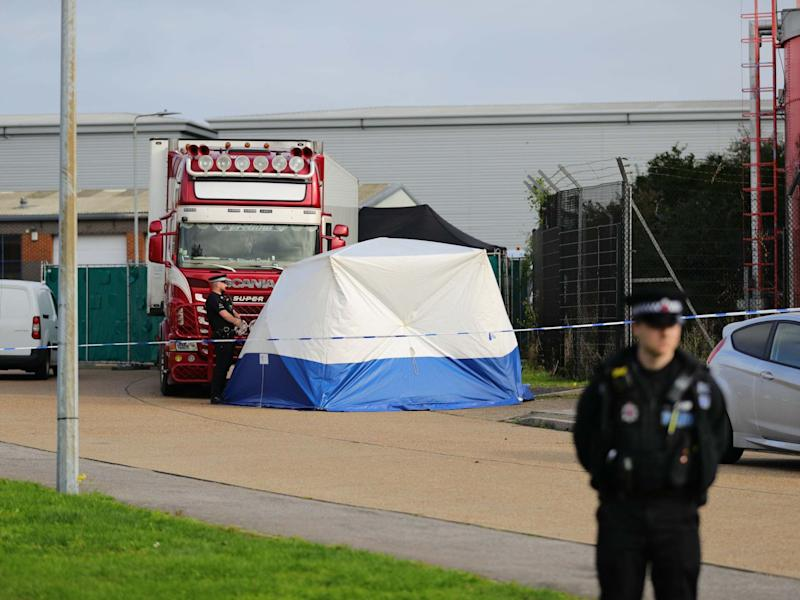 Police activity at the Waterglade Industrial Park in Essex after 39 bodies were found inside a lorry container: PA