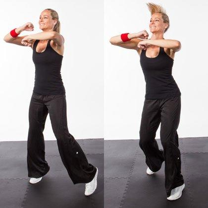 "<p>Stay quick and light on your feet with this kickboxing workout drill. (Related: <a href=""https://www.shape.com/fitness/videos/how-to-punch-pro-boxer-form"" target=""_blank"">How to Throw a Punch Like a Pro Boxer</a>)</p> <ul><li>Stand with your feet hip-width apart and bring your arms up in front of your chest, hands in fists, elbows out to the sides.</li> <li>Shuffle side to side and circle your arms rapidly around in each other (as if hitting a speed bag).</li> <li>Do this as quickly as you can for 30 seconds.</li> </ul><p><strong>Make this kickboxing workout move harder:</strong> Reverse the direction of your circles without losing speed.</p>"