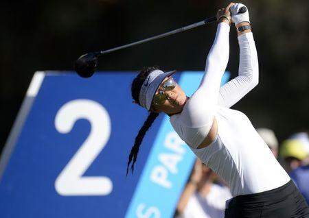 March 30, 2017; Rancho Mirage, CA, USA; Michelle Wie hits from the second course tee box during the first round of the ANA Inspiration golf tournament at Mission Hills CC-Dinah Shore Tournament Course. Gary A. Vasquez-USA TODAY Sports