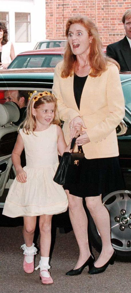 Princess Beatrice at seven years old with her mum, Sarah Ferguson. (PA Images)