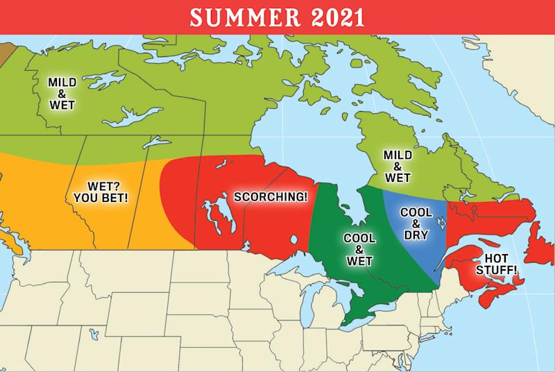 Summer 2021 weather map for Canada (Old Farmer's Almanac)