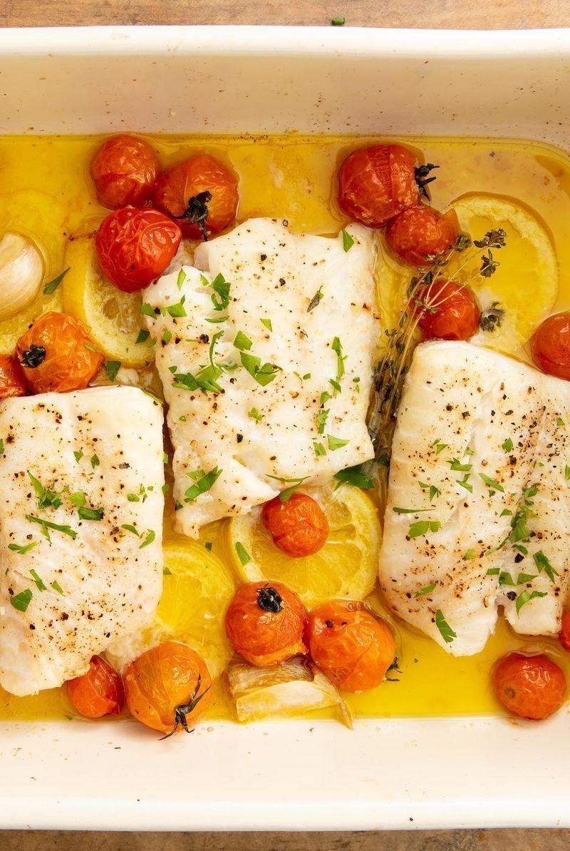 """<p>If you're someone who's afraid of cooking seafood at home, cod is the fish for you. It's basically impossible to mess up: It cooks quickly, is hard to overcook (unless you really forget about it), and is easy to flavour however you want.</p><p>Get the <a href=""""https://www.delish.com/uk/cooking/recipes/a29733946/best-baked-cod-fish-recipe/"""" rel=""""nofollow noopener"""" target=""""_blank"""" data-ylk=""""slk:Perfect Baked Cod"""" class=""""link rapid-noclick-resp"""">Perfect Baked Cod</a> recipe.</p>"""