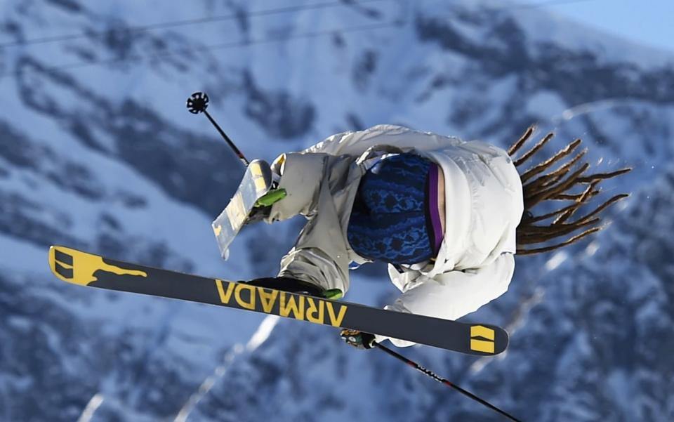 Sweden's Henrik Harlaut performs a jump during the men's freestyle skiing slopestyle qualification round at the 2014 Sochi Winter Olympic Games in Rosa Khutor February 13, 2014. REUTERS/Dylan Martinez (RUSSIA - Tags: SPORT SKIING OLYMPICS TPX IMAGES OF THE DAY)