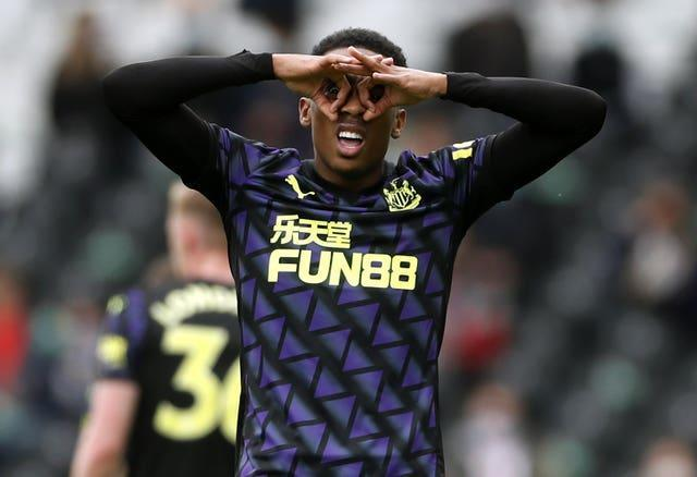 Newcastle's Joe Willock celebrates his seventh goal in as many Premier League games