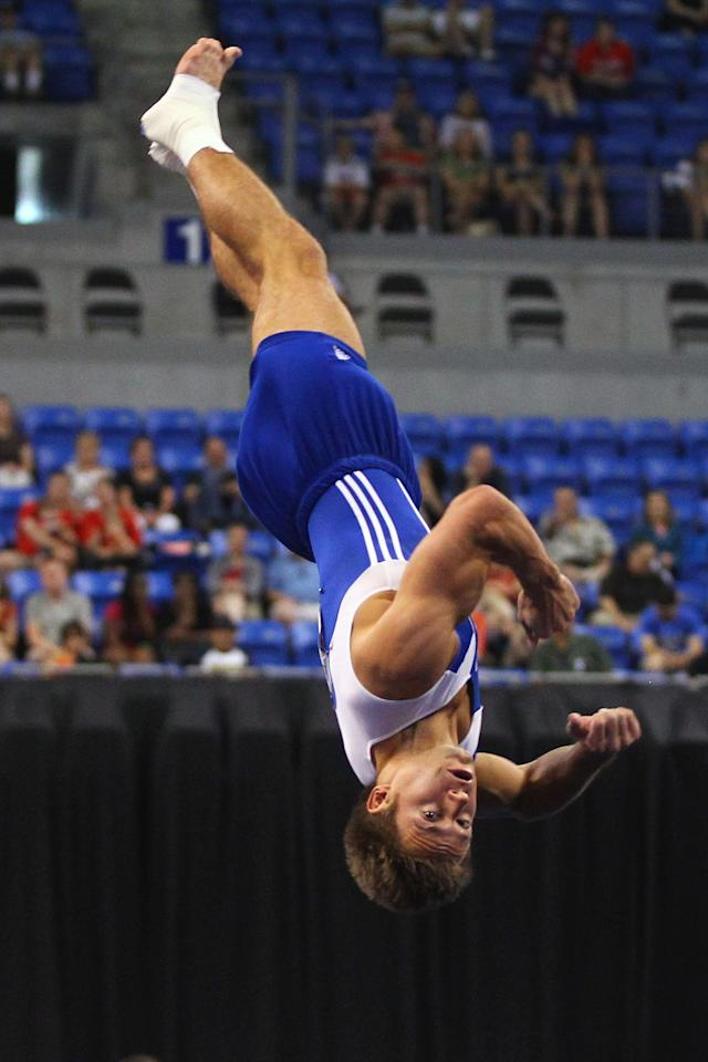 ST. LOUIS, MO - JUNE 9: Sam Mikulak competes in the floor event during the Senior Men's competition on Day Three of the Visa Championships at Chaifetz Arena on June 9, 2012 in St. Louis, Missouri. (Photo by Dilip Vishwanat/Getty Images)