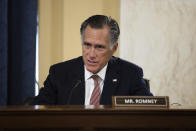 Sen. Mitt Romney, R-Utah, questions Secretary of State nominee Antony Blinken during his confirmation hearing to be Secretary of State before the Senate Foreign Relations Committee on Capitol Hill in Washington, Tuesday, Jan. 19, 2021. (Graeme Jennings/Pool via AP)