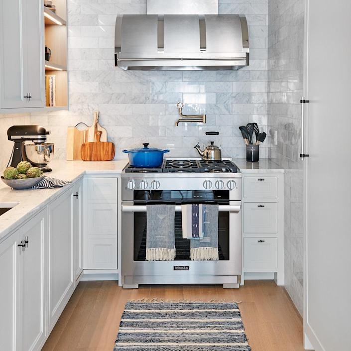 The kitchen area inside the 2020 Real SImple Home is modern and open without taking up too much space.