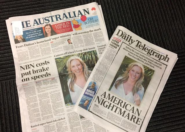 <p>Front pages of two Australian newspapers on Tuesday, July 18, 2017, featuring photos and story of the shooting death of Australia's Justine Damond who was shot dead by a Minneapolis police officer on Saturday. Australia's airwaves, newspapers and websites have been dominated by the news of Damond's death which has stunned many in her native Australia and fed into Australians' darkest fears about America's culture of gun violence. (Photo: Kristen Gelineau/AP) </p>