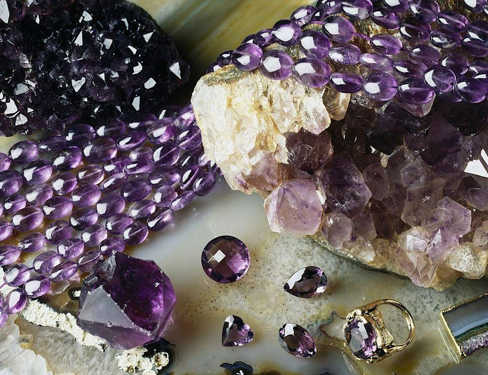 """<p>Twinkling diamonds may be the gems most associated with romance, but there is also a lot to love about February's colourful birthstone, the amethyst. </p><p>Indeed, the figure of Saint Valentine himself is closely linked with amethyst (he is said to have worn it as a ring carved with the image of Cupid), and it has adorned kings and queens for centuries as a symbol of their power and status. The stone has also been revered for having magical protective powers: the Ancient Greeks used carved amethyst goblets to ward off hangovers (its name is derived from the Ancient Greek for 'not intoxicated', amethustos); mediaeval soldiers wore it into battle to promote healing and Leonardo da Vinci even claimed it helped to """"quicken the mind"""" and dispel """"evil thoughts"""". </p><p>Whether you want to empower, protect or simply spoil someone with a February birthday this year, here's our selection of the loveliest amethyst jewellery available right now. </p>"""
