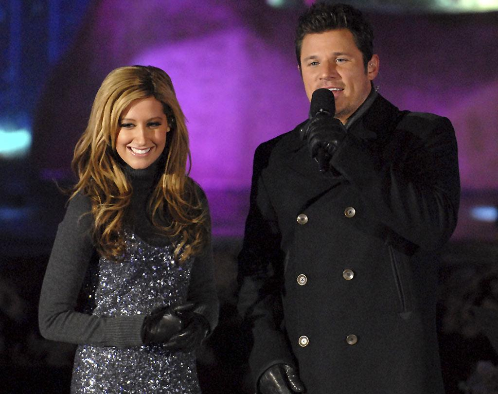 """High School Musical"" hottie Ashley Tisdale and former ""Newlywed"" Nick Lachey don winter weather gear to attend the 75th annual Rockefeller Center Tree Lighting Ceremony in New York City. Kevin Mazur/<a href=""http://www.wireimage.com"" target=""new"">WireImage.com</a> - November 28, 2007"