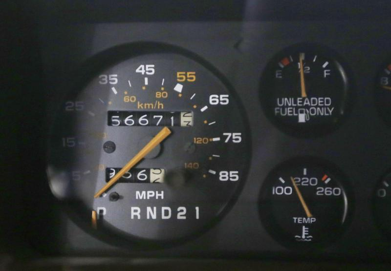 In a Jan. 22, 2013 photo, the speedometer of a 1984 Monte Carlo is seen at the GM Heritage Center in Sterling Heights, Mich. For years, most speedometers topped out at 120, a speed that many cars could come close to reaching, even though it was 50 mph over the limit in most states. Then, in 1980, Joan Claybrook, who ran the National Highway Traffic Safety Administration, limited speedometers to 85 mph, even though cars could go much faster. (AP Photo/Carlos Osorio)