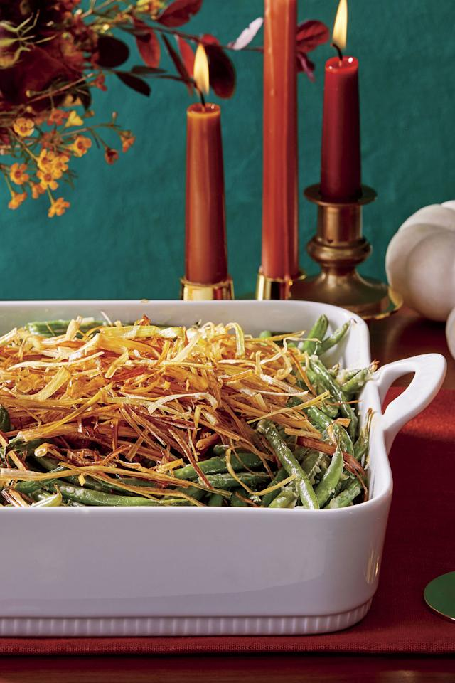 "<p><b>Recipe: <a href=""https://www.southernliving.com/recipes/homemade-green-bean-casserole-with-leeks"">Homemade Green Bean Casserole with Crispy Leeks</a></b></p> <p><b>Fried leeks give this classic green bean casserole the most elegant topping. Make the casserole the day before Thanksgiving then fry the leeks the day of.</b></p>"