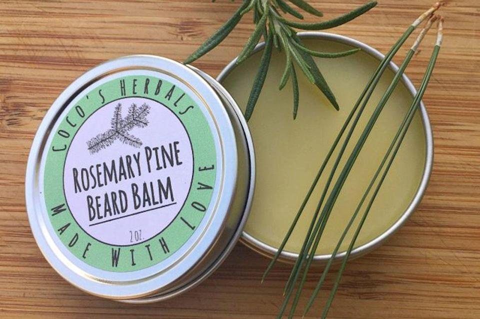 """<p>Whether Dad has a full beard, a little scruff, or is completely bare, this moisturizing balm is good for his facial hair and skin.</p><p><strong>Get the tutorial at <a href=""""https://www.growforagecookferment.com/rosemary-pine-beard-balm/"""" rel=""""nofollow noopener"""" target=""""_blank"""" data-ylk=""""slk:Grow Forage Cook Ferment"""" class=""""link rapid-noclick-resp"""">Grow Forage Cook Ferment</a></strong>.</p><p><a class=""""link rapid-noclick-resp"""" href=""""https://www.amazon.com/Beesworks%C2%AE-1lb-Cosmetic-Grade-Triple-Filtered-Different/dp/B00B3U0FW4?tag=syn-yahoo-20&ascsubtag=%5Bartid%7C10050.g.1171%5Bsrc%7Cyahoo-us"""" rel=""""nofollow noopener"""" target=""""_blank"""" data-ylk=""""slk:SHOP BEESWAX"""">SHOP BEESWAX</a><br></p>"""
