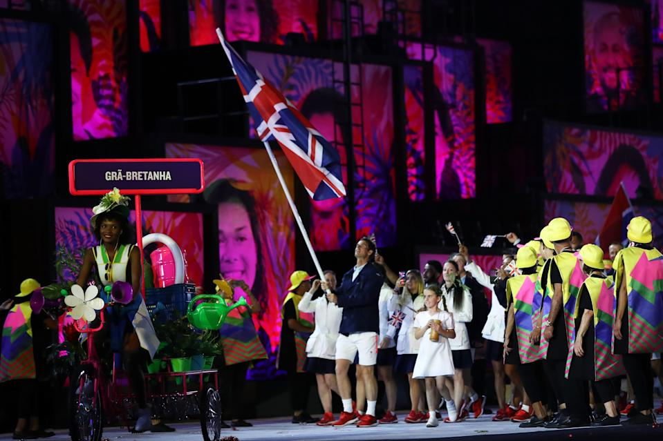 Double tennis gold medallist Andy Murray leads Team GB into the opening ceremony of the 2016 Olympics in Rio.