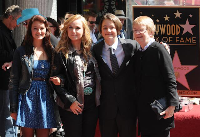 Bailey Cypher, Melissa Etheridge, Beckett Cypher and Elizabeth Williamson attend the singer's Hollywood Walk of Fame Induction Ceremony on Sept. 27, 2011 in Hollywood, Calif. (Photo: Duffy-Marie Arnoult/WireImage)