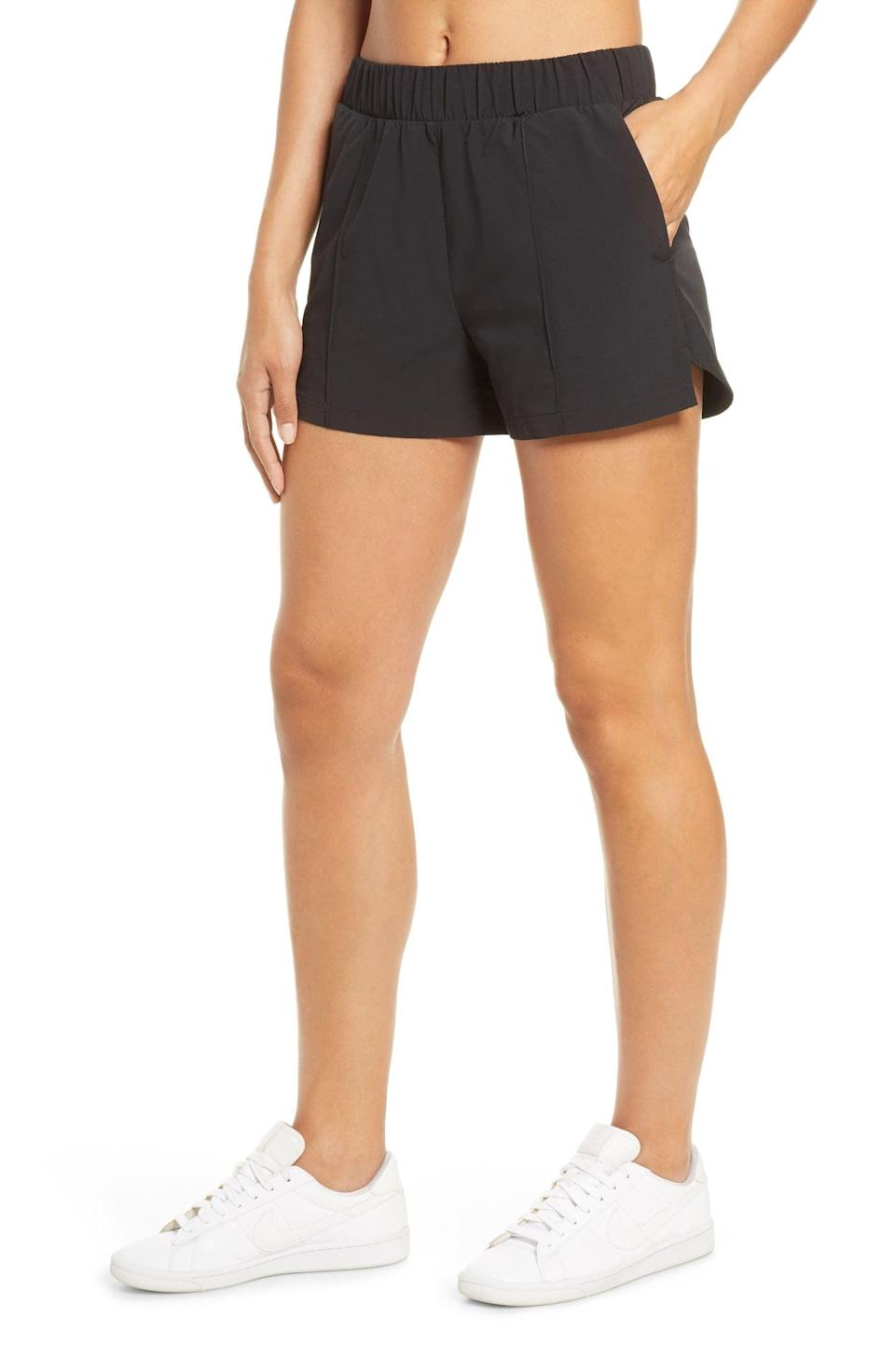 <p>These <span>Zella Taylor Getaway High Waist Shorts</span> ($49) are comfortable and easy to take from a hike to brunch.</p>
