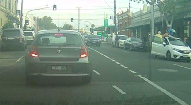 The cyclist waits for the vehicle to safely pull over. Photo: Newsflare/ Dracothian