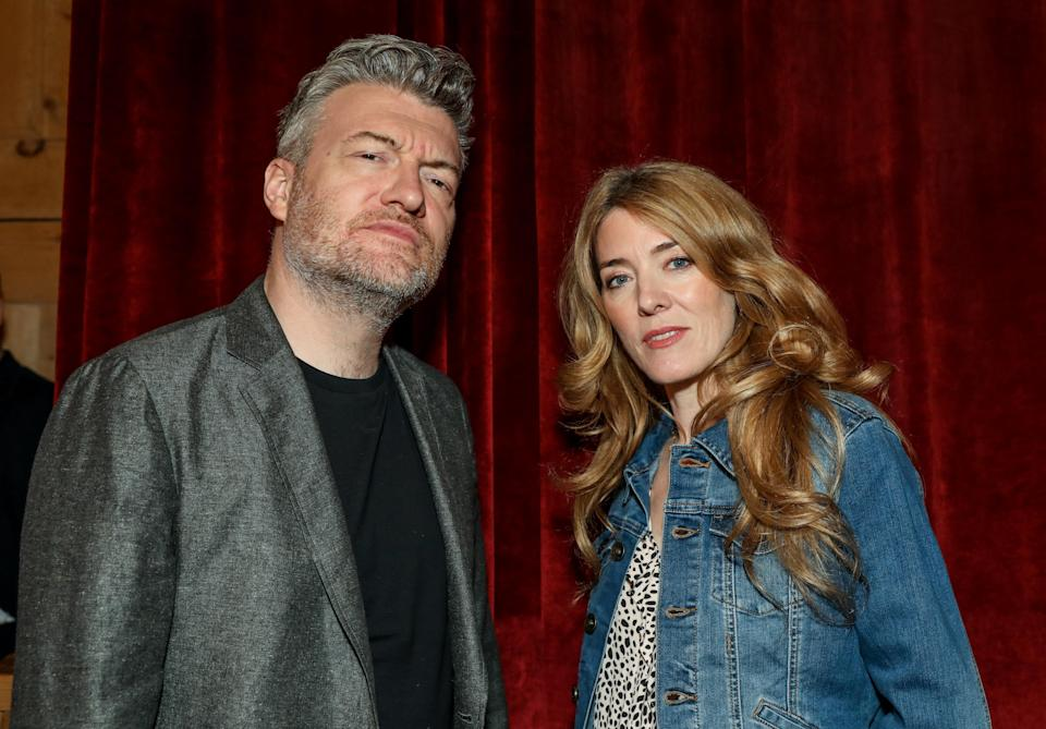 LONDON, ENGLAND - APRIL 14: Charlie Brooker and Annabel Jones pose in the green room during the BFI & Radio Times Television Festival 2019 at the BFI Southbank on April 14, 2019 in London, England. (Photo by David M. Benett/Dave Benett/Getty Images)