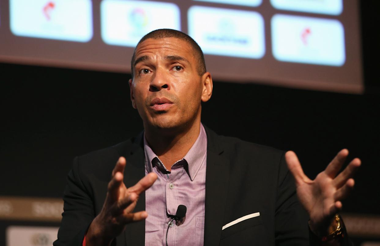 MANCHESTER, ENGLAND - SEPTEMBER 06:  Stan Collymore, Liverpool & Aston Villa former footballer talks during day 3 of the Soccerex Global Convention at Manchester Central Convention Complex on September 6, 2017 in Manchester, England.  (Photo by Jan Kruger/Getty Images for Soccerex)