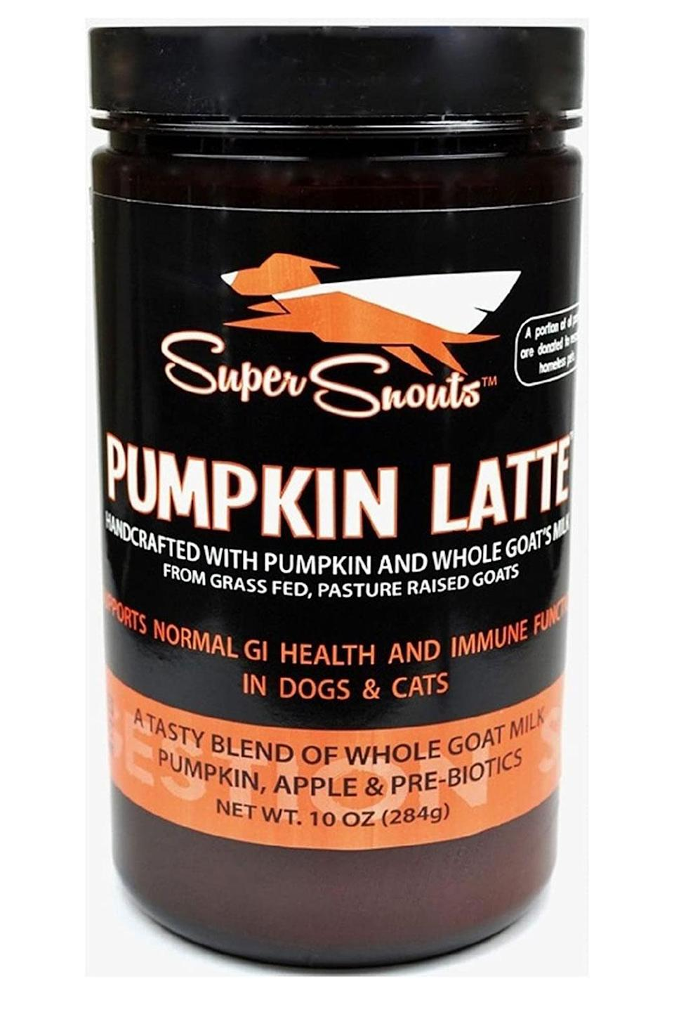 """<p>Make your dog their own PSL with this pet-friendly powder designed to go on top of food or into a pup's water, which helps promote good digestive health in canines.</p> <p><strong>Buy it!</strong> Pumpkin Latte Digestive Health Powder, $23.89; <a href=""""https://www.amazon.com/Diggin-Your-Dog-Digestive-Pre-biotic/dp/B07F5RT4YR?&linkCode=ll1&tag=pogiftfordogownersobsessedwithpumpkinspicedlatteskbender0921-20&linkId=92648b472061ab8b1db75b4b5d9d3ecc&language=en_US&ref_=as_li_ss_tl"""" rel=""""nofollow noopener"""" target=""""_blank"""" data-ylk=""""slk:Amazon.com"""" class=""""link rapid-noclick-resp"""">Amazon.com</a></p>"""