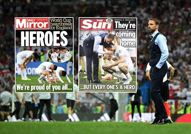 How the newspapers reacted to England's defeat.