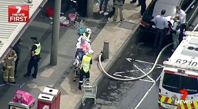 The blaze injured 26 bystanders and left the alleged perpertrator in hospital in a critical condition. Photo: 7 News