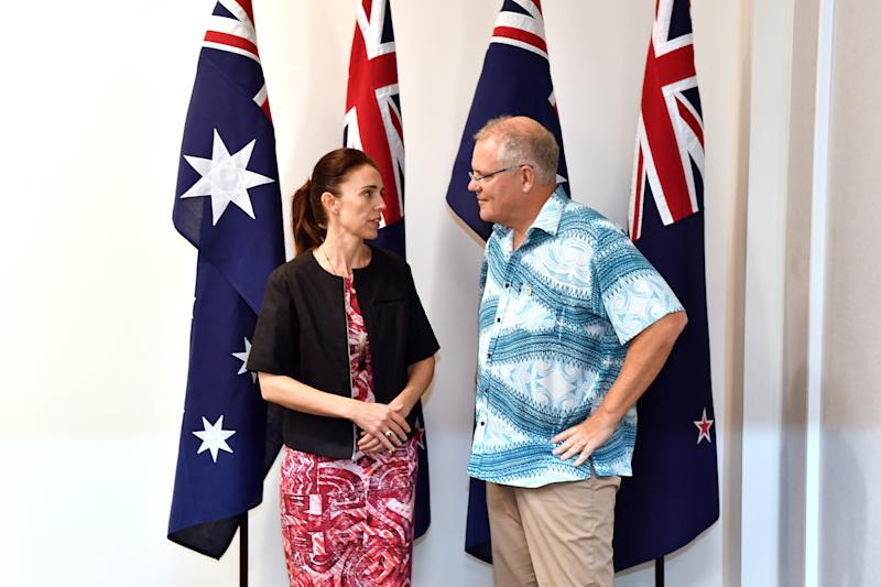 New Zealand's Prime Minister Jacinda Ardern with Australia's Prime Minister Scott Morrison at the Pacific Islands Forum. She has been slammed by Alan Jones.