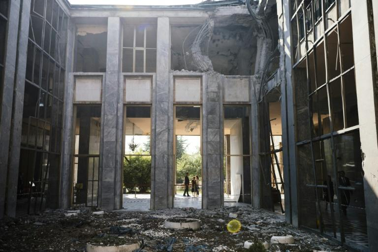 The parliament building in Ankara was damaged in bomb attacks by air force jets