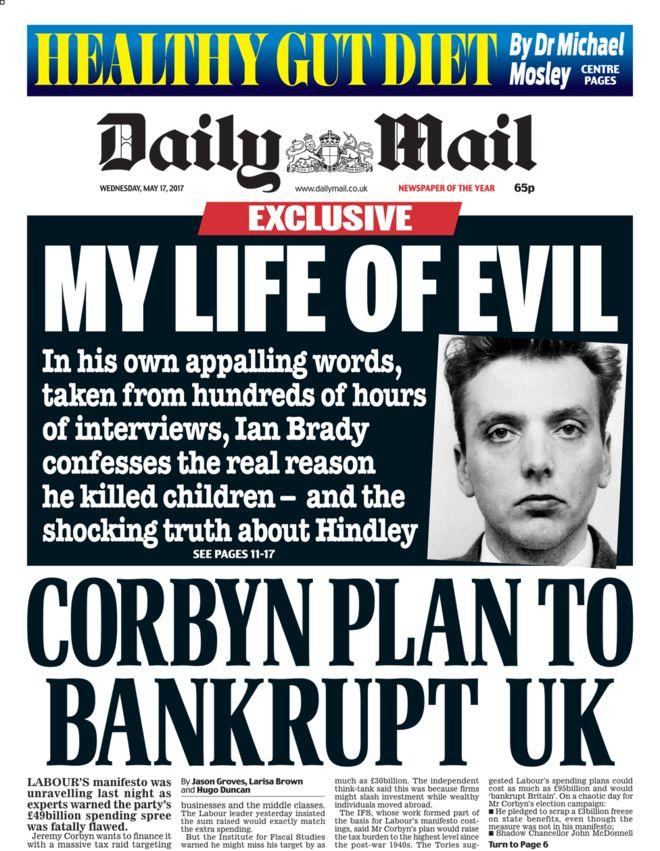 <p>Hardly Jeremy Corbyn's no 1 fan, The Mail went to town in slating his manifesto, calling it 'fatally flawed'. </p>