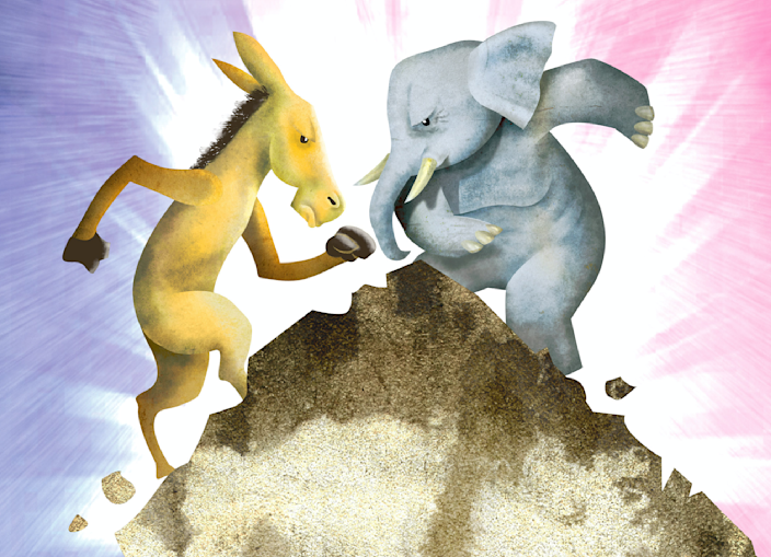 Hector Casanova illustration of the Democrat donkey fighting it out with the Republican elephant. (The Kansas City Star/MCT via Getty Images via Getty Images)