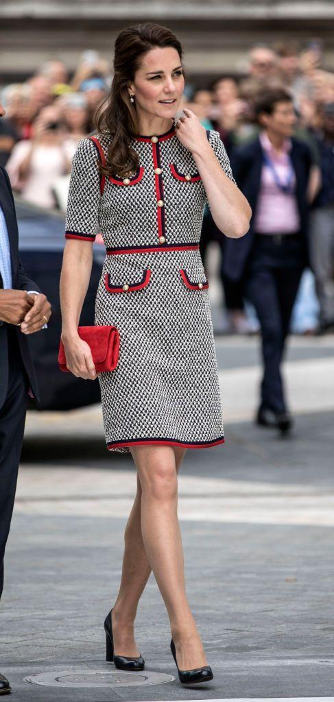 """<p>When Duchess Kate arrived at the opening of a new exhibition space within the Victoria and Albert Museum she appeared to channel Jackie Kennedy, pairing a <a href=""""https://www.net-a-porter.com/us/en/product/896412"""" rel=""""nofollow noopener"""" target=""""_blank"""" data-ylk=""""slk:tweed Gucci dress"""" class=""""link rapid-noclick-resp"""">tweed Gucci dress</a> with black pumps and a solid red clutch.</p>"""