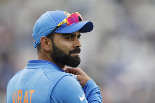 India's captain Virat Kohli reacts after taking the catch to dismiss South Africa's Chris Morris during their Cricket World Cup match between South Africa and India at the Hampshire Bowl in Southampton, England, Wednesday, June 5, 2019. (AP Photo/Alastair Grant)
