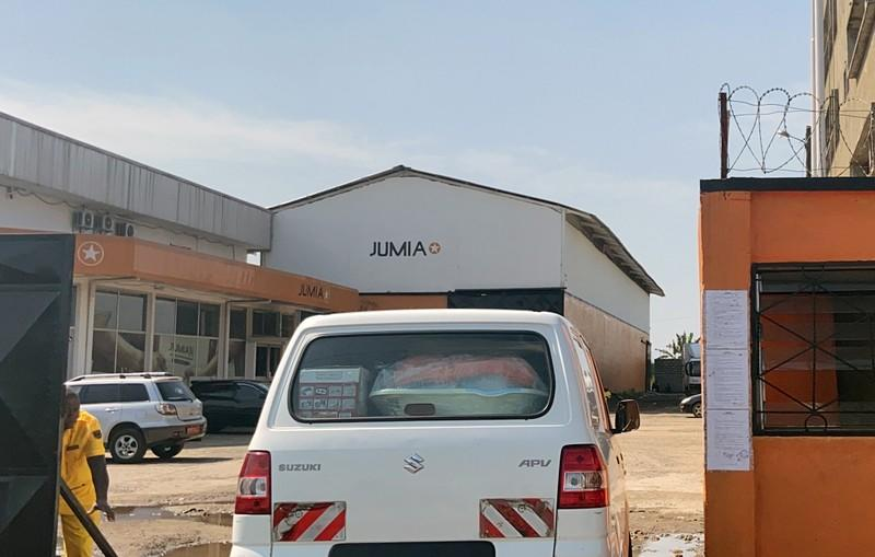 A vehicle is seen entering Jumia Technologies headquarters in Douala
