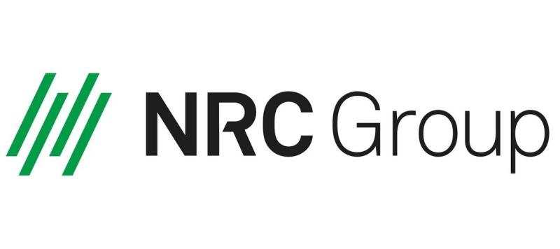 NRC Group logo with four green slanted lines.