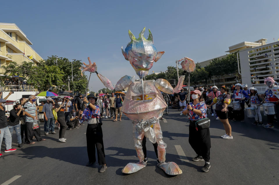 A puppet features during a protest march led by pro-democracy protesters close to Democracy Monument in Bangkok, Thailand, Saturday, Nov. 14, 2020. (AP Photo/Sakchai Lalit)