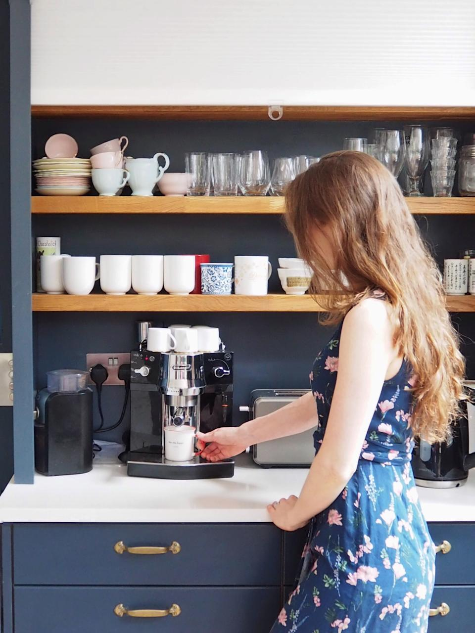 Jennifer Earle is thrilled with her new coffee making area. (Supplied Jennifer Earle)