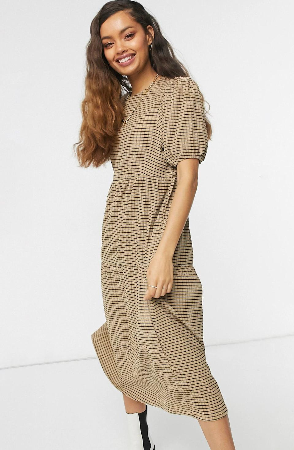 "<br><br><strong>ASOS DESIGN</strong> Petite Midi Tiered Smock Dress, $, available at <a href=""https://www.asos.com/asos-petite/asos-design-petite-midi-tiered-smock-in-camel-and-black-check/prd/21652371"" rel=""nofollow noopener"" target=""_blank"" data-ylk=""slk:ASOS"" class=""link rapid-noclick-resp"">ASOS</a>"