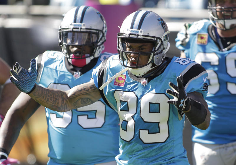 Carolina Panthers' Steve Smith (89) reacts after a touchdown against the St. Louis Rams in the second half of an NFL football game in Charlotte, N.C., Sunday, Oct. 20, 2013. (AP Photo/Bob Leverone)