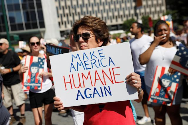 "<p>A demonstrator holding a sign participates in ""Keep Families Together"" march to protest Trump administration's immigration policy in Manhattan, New York, June 30, 2018. (Photo: Shannon Stapleton/Reuters) </p>"