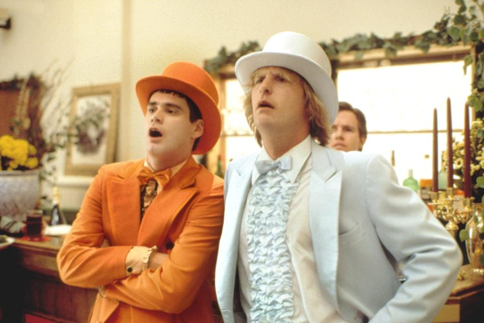 <ul> <li><b>What to wear for Lloyd:</b> An orange suit, complete with matching hat and ruffle dress shirt. Don't forget your cane.</li> <li><b>What to wear for Harry:</b> Same as above, only in powder blue.</li> <li><b>How to act:</b> Like an idiot, but an idiot who thinks he's really intelligent.</li> </ul>