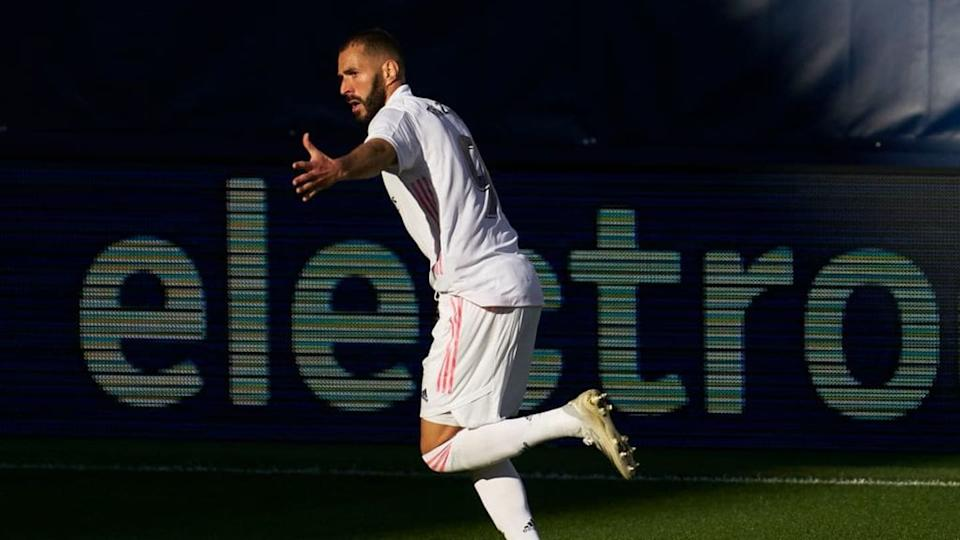 Benzema celebra un gol con el Real Madrid | Quality Sport Images/Getty Images