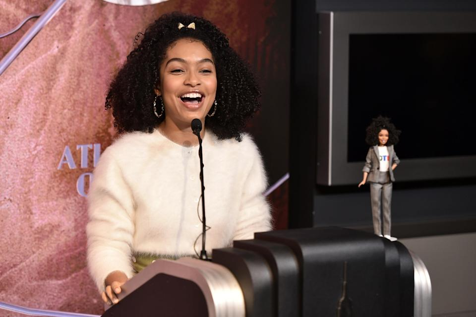 Actress Yara Shahidi celebrates Barbie's 60th Anniversary & International Women's Day at The Empire State Building on March 8, 2019 in New York City. (Photo by Steven Ferdman/Getty Images)
