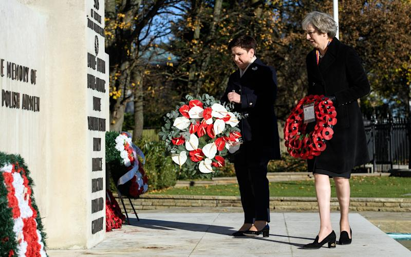 Prime Minister Theresa May (right) and Polish Prime Minister Beata Szydlo lay wreaths at the Polish War Memorial in Northolt, London - Credit: PA