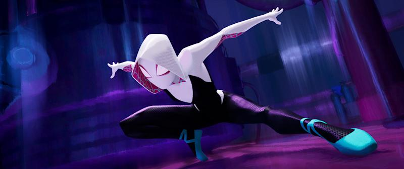 In one of Into the Spider-Verse's many parallel worlds, Peter's friend Gwen Stacy gets bitten by the radioactive spider. She becomes the hero and Peter the one who needs saving. | Sony Pictures Animation