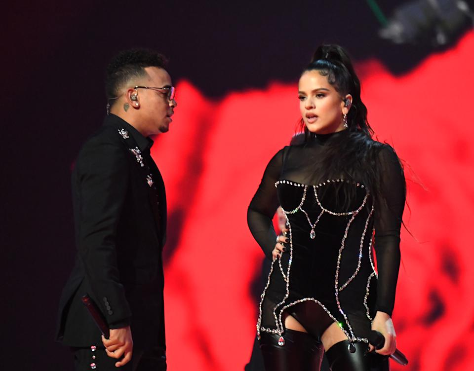 NEWARK, NEW JERSEY - AUGUST 26: ROSALÍA perfoms onstage during the 2019 MTV Video Music Awards at Prudential Center on August 26, 2019 in Newark, New Jersey. (Photo by Jeff Kravitz/FilmMagic)